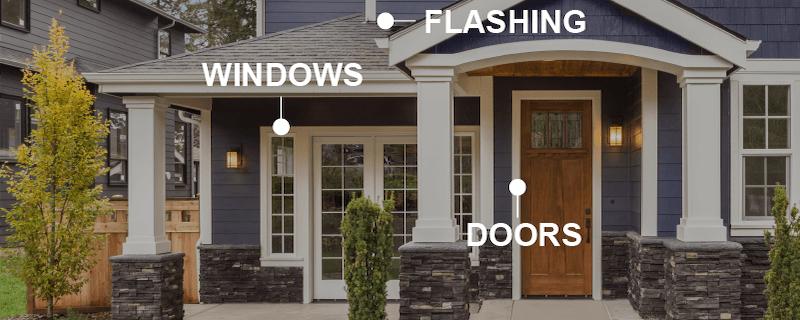 works on windows, flashing and doors