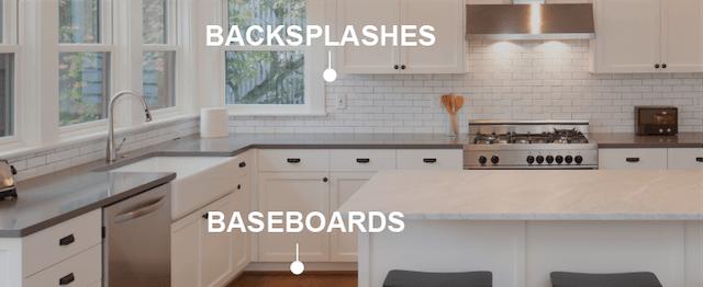 works on backsplashes and baseboards